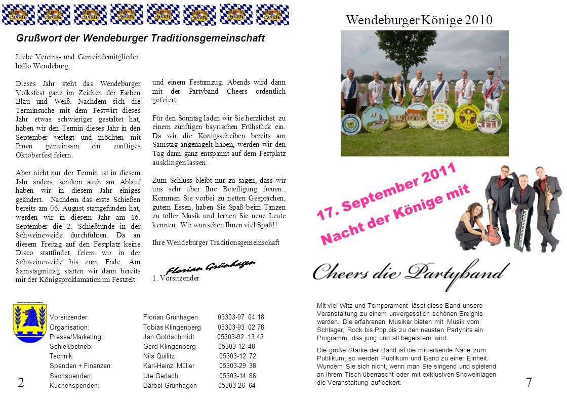 72 Grußwort der Wendeburger Traditionsgemeinschaft Liebe Vereins- und Gemeindemitglieder, hallo Wendeburg, Dieses Jahr steht das Wendeburger Volksfest