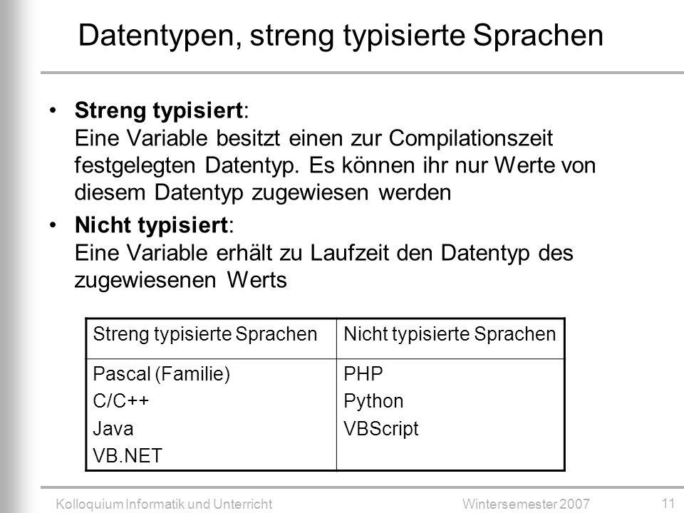 Kolloquium Informatik und UnterrichtWintersemester 2007 11 Datentypen, streng typisierte Sprachen Streng typisiert: Eine Variable besitzt einen zur Compilationszeit festgelegten Datentyp.