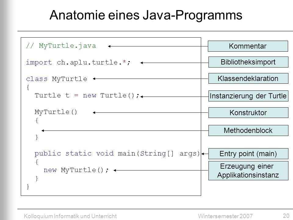 Kolloquium Informatik und UnterrichtWintersemester 2007 20 Anatomie eines Java-Programms KommentarBibliotheksimportKlassendeklaration Erzeugung einer Applikationsinstanz MethodenblockEntry point (main)KonstruktorInstanzierung der Turtle