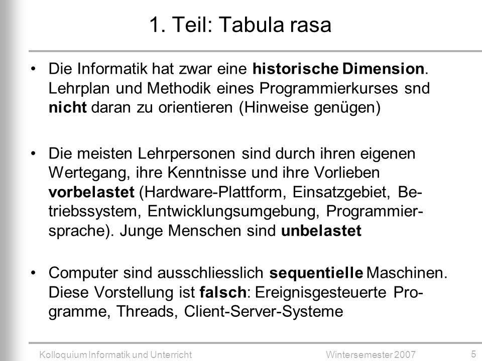 Kolloquium Informatik und UnterrichtWintersemester 2007 5 1.