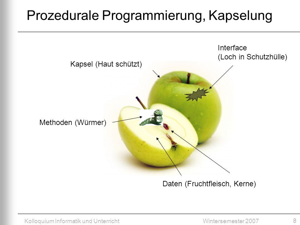 Kolloquium Informatik und UnterrichtWintersemester 2007 8 Prozedurale Programmierung, Kapselung Daten (Fruchtfleisch, Kerne) Methoden (Würmer) Kapsel (Haut schützt) Interface (Loch in Schutzhülle)