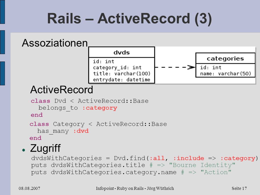 Infopoint - Ruby on Rails - Jörg Wüthrich08.08.2007Seite 17 Rails – ActiveRecord (3) Assoziationen ActiveRecord Zugriff class Dvd < ActiveRecord::Base belongs_to :category end class Category < ActiveRecord::Base has_many :dvd end dvdsWithCategories = Dvd.find(:all, :include => :category) puts dvdsWithCategories.title # => Bourne Identity puts dvdsWithCategories.category.name # => Action