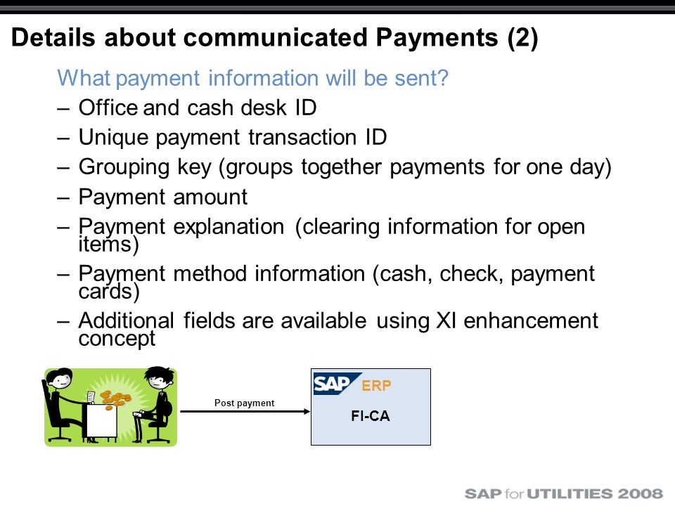 Details about communicated Payments (2) What payment information will be sent? –Office and cash desk ID –Unique payment transaction ID –Grouping key (