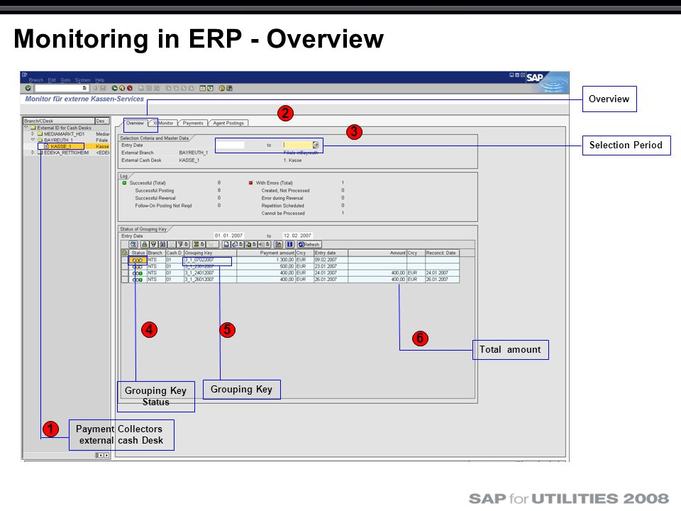 Monitoring in ERP - Overview Payment Collectors external cash Desk Grouping Key Status Selection Period Grouping Key Overview 1 2 3 4 5 Total amount 6