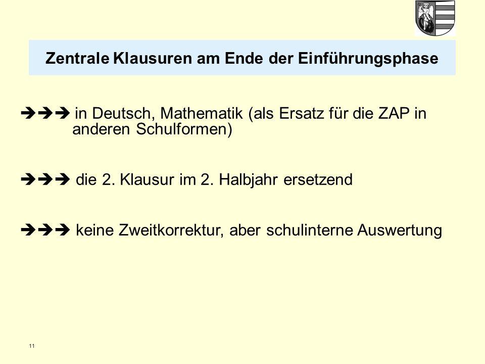 11 in Deutsch, Mathematik (als Ersatz für die ZAP in anderen Schulformen) die 2. Klausur im 2. Halbjahr ersetzend keine Zweitkorrektur, aber schulinte