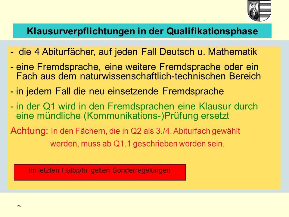 25 Klausurverpflichtungen in der Qualifikationsphase - die 4 Abiturfächer, auf jeden Fall Deutsch u. Mathematik -eine Fremdsprache, eine weitere Fremd