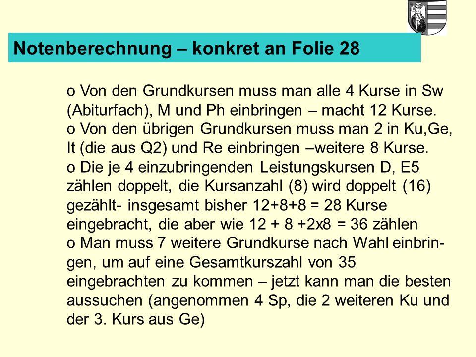 Notenberechnung – konkret an Folie 28 o Von den Grundkursen muss man alle 4 Kurse in Sw (Abiturfach), M und Ph einbringen – macht 12 Kurse. o Von den