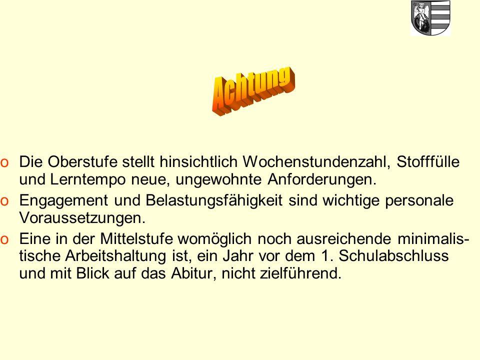 25 Klausurverpflichtungen in der Qualifikationsphase - die 4 Abiturfächer, auf jeden Fall Deutsch u.