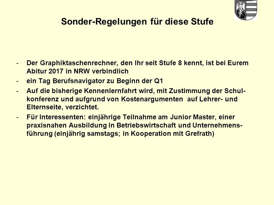 Sonder-Regelungen für diese Stufe -Der Graphiktaschenrechner, den Ihr seit Stufe 8 kennt, ist bei Eurem Abitur 2017 in NRW verbindlich -ein Tag Berufs