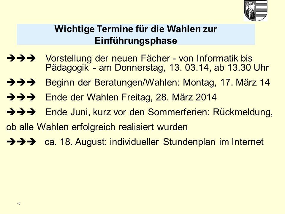 48 Vorstellung der neuen Fächer - von Informatik bis Pädagogik - am Donnerstag, 13. 03.14, ab 13.30 Uhr Beginn der Beratungen/Wahlen: Montag, 17. März