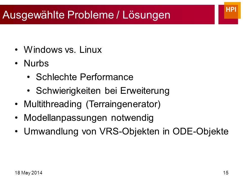 Ausgewählte Probleme / Lösungen 18 May 201415 Windows vs.