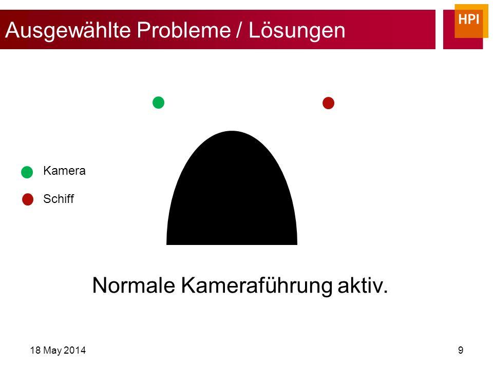 Ausgewählte Probleme / Lösungen 18 May 201410 Schiff Kamera Kollision erkannt intelligente Kameraführung aktiviert.