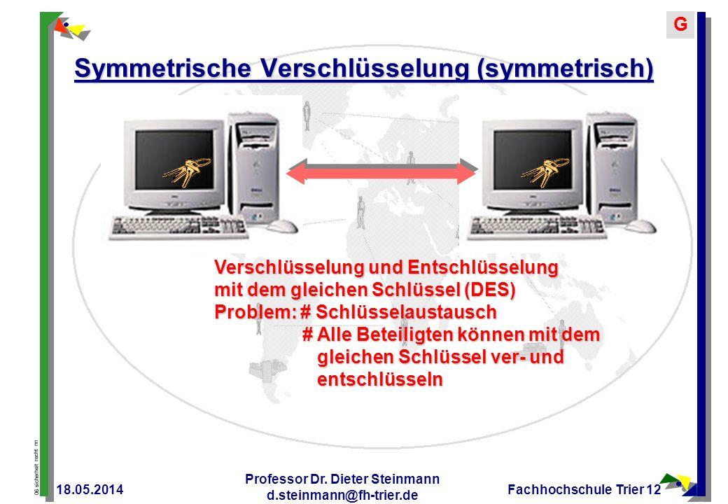 06 sicherheit recht nn G 18.05.2014 Professor Dr. Dieter Steinmann d.steinmann@fh-trier.de Fachhochschule Trier 12 Symmetrische Verschlüsselung (symme