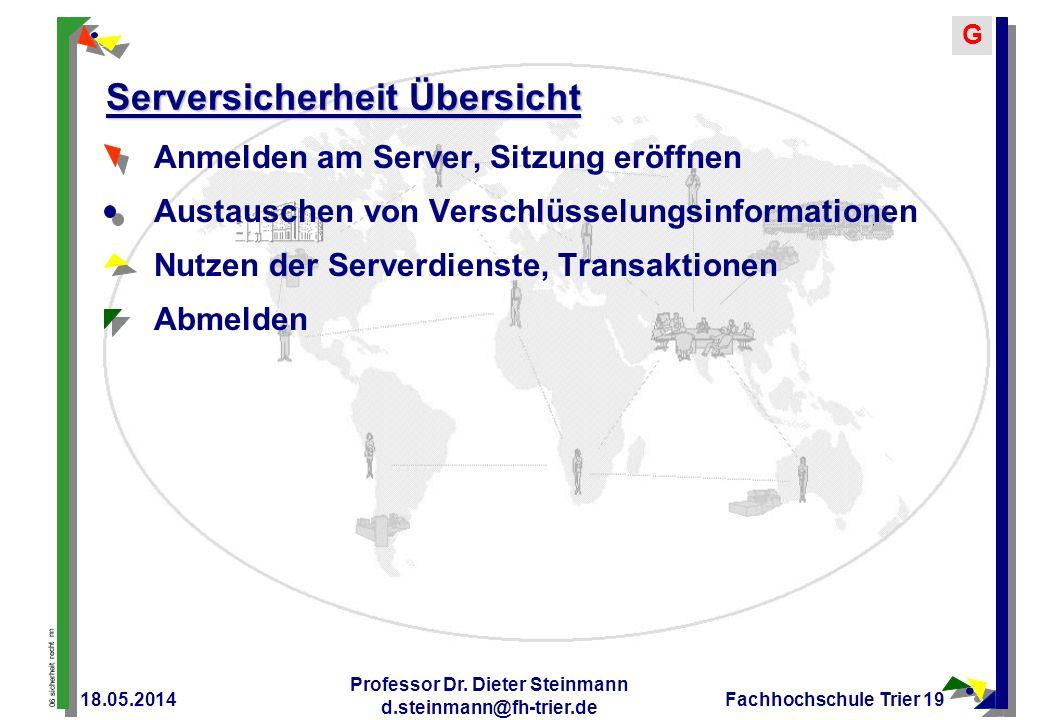 06 sicherheit recht nn G 18.05.2014 Professor Dr. Dieter Steinmann d.steinmann@fh-trier.de Fachhochschule Trier 19 Serversicherheit Übersicht Anmelden