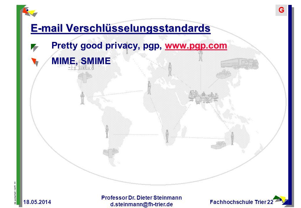 06 sicherheit recht nn G 18.05.2014 Professor Dr. Dieter Steinmann d.steinmann@fh-trier.de Fachhochschule Trier 22 E-mail Verschlüsselungsstandards Pr