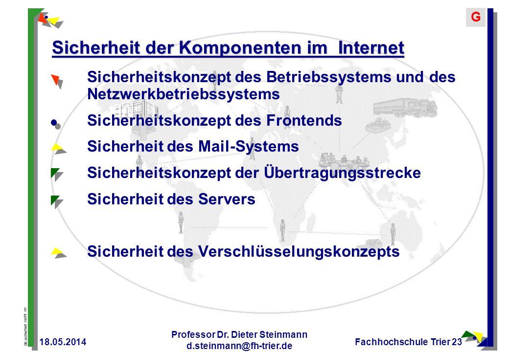06 sicherheit recht nn G 18.05.2014 Professor Dr. Dieter Steinmann d.steinmann@fh-trier.de Fachhochschule Trier 23 Sicherheit der Komponenten im Inter