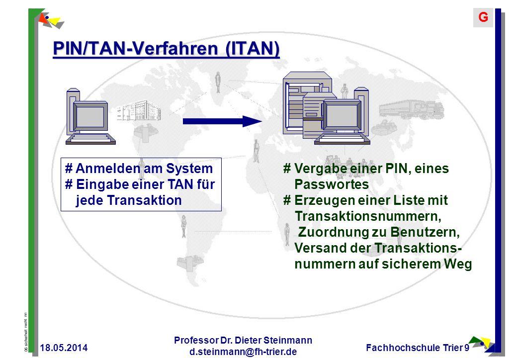 06 sicherheit recht nn G 18.05.2014 Professor Dr. Dieter Steinmann d.steinmann@fh-trier.de Fachhochschule Trier 9 PIN/TAN-Verfahren (ITAN) # Vergabe e