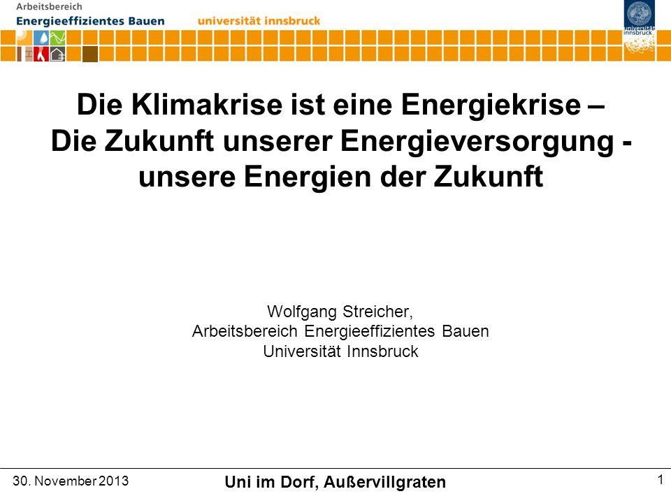 Die Klimakrise ist eine Energiekrise – Die Zukunft unserer Energieversorgung - unsere Energien der Zukunft Wolfgang Streicher, Arbeitsbereich Energieeffizientes Bauen Universität Innsbruck 30.