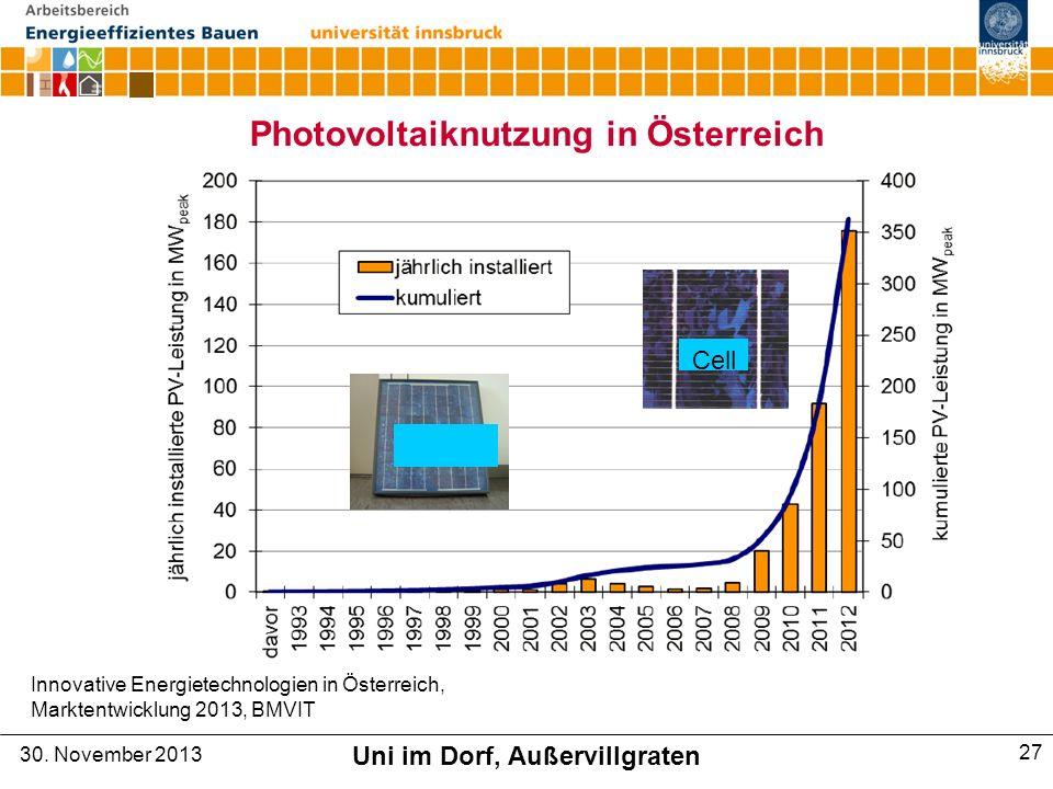 Photovoltaiknutzung in Österreich Innovative Energietechnologien in Österreich, Marktentwicklung 2013, BMVIT Cell 30.