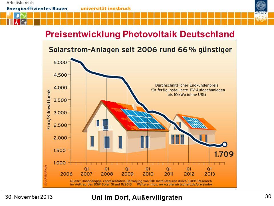 Preisentwicklung Photovoltaik Deutschland 30. November 2013 Uni im Dorf, Außervillgraten 30