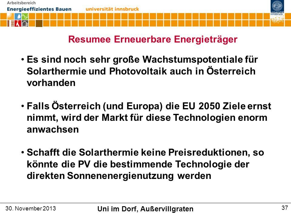 Es sind noch sehr große Wachstumspotentiale für Solarthermie und Photovoltaik auch in Österreich vorhanden Falls Österreich (und Europa) die EU 2050 Ziele ernst nimmt, wird der Markt für diese Technologien enorm anwachsen Schafft die Solarthermie keine Preisreduktionen, so könnte die PV die bestimmende Technologie der direkten Sonnenenergienutzung werden Resumee Erneuerbare Energieträger 30.