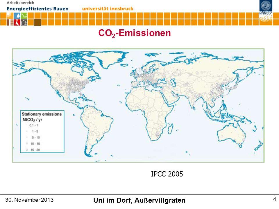 CO 2 -Emissionen IPCC 2005 30. November 2013 Uni im Dorf, Außervillgraten 4