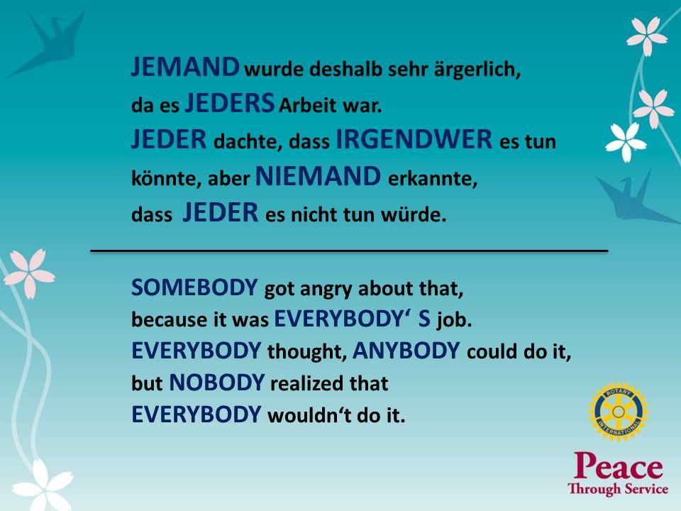 5 JEMAND wurde deshalb sehr ärgerlich, da es JEDERS Arbeit war. JEDER dachte, dass IRGENDWER es tun könnte, aber NIEMAND erkannte, dass JEDER es nicht