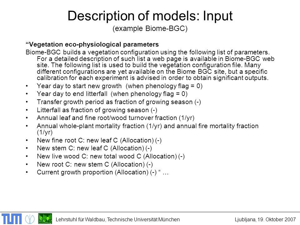 Lehrstuhl für Waldbau, Technische Universität MünchenLjubljana, 19. Oktober 2007 Description of models: Input (example Biome-BGC) Vegetation eco-physi