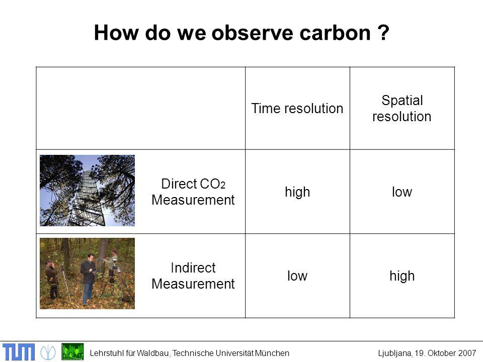 Lehrstuhl für Waldbau, Technische Universität MünchenLjubljana, 19. Oktober 2007 How do we observe carbon ? Time resolution Spatial resolution Direct