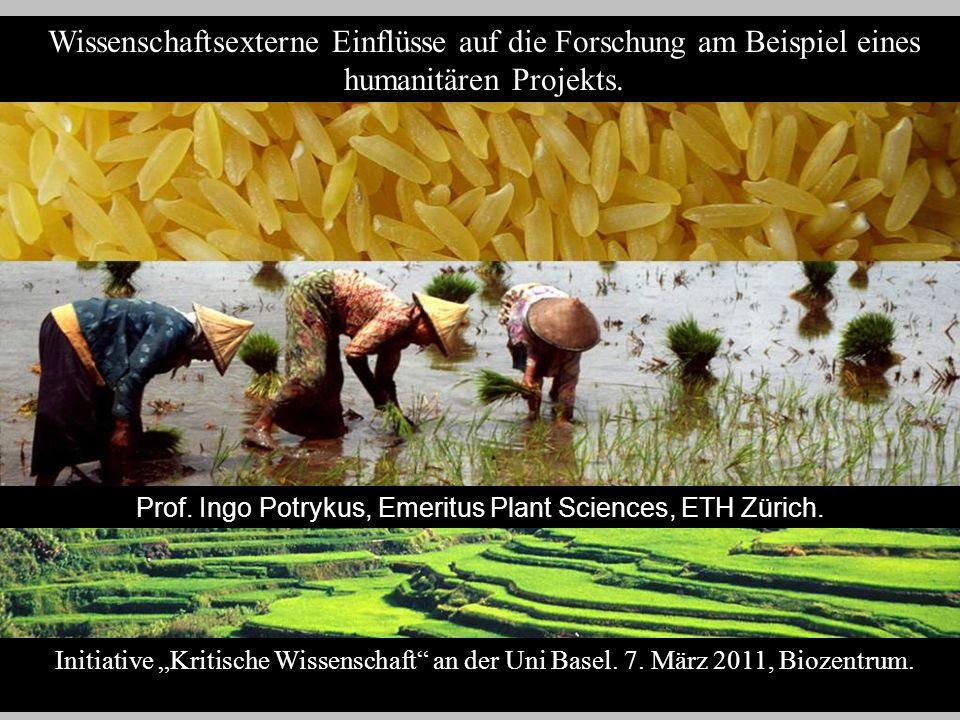 Wissenschaftsexterne Einflüsse auf die Forschung am Beispiel eines humanitären Projekts. Initiative Kritische Wissenschaft an der Uni Basel. 7. März 2