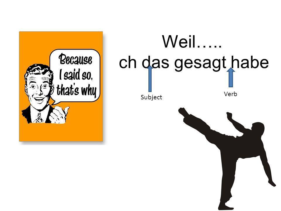 Weil Because verb kicker kicks the verb to the end of the clause Ich mag Käse.,weil ich Käse mag.