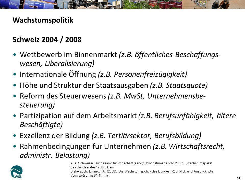 96 Schweiz 2004 / 2008 Wettbewerb im Binnenmarkt (z.B. öffentliches Beschaffungs- wesen, Liberalisierung) Internationale Öffnung (z.B. Personenfreizüg
