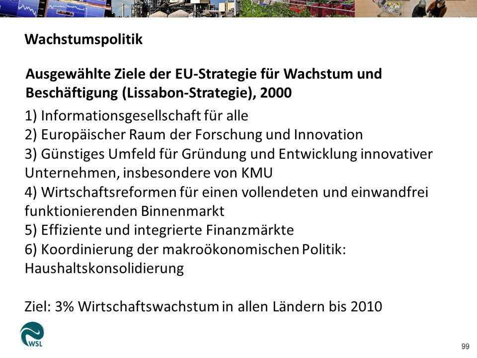1) Informationsgesellschaft für alle 2) Europäischer Raum der Forschung und Innovation 3) Günstiges Umfeld für Gründung und Entwicklung innovativer Un