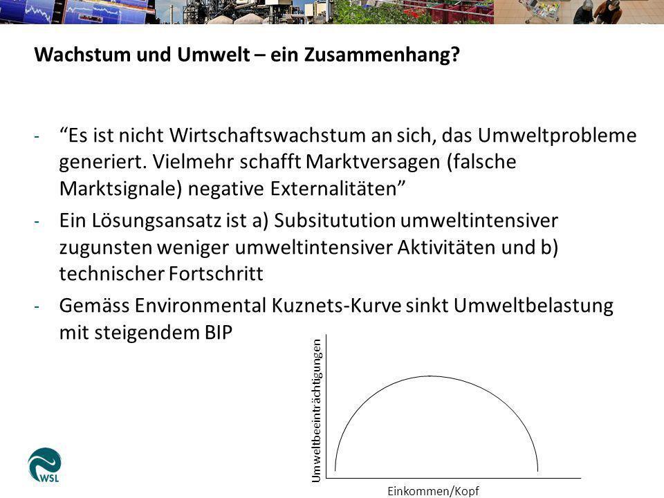 - Es ist nicht Wirtschaftswachstum an sich, das Umweltprobleme generiert. Vielmehr schafft Marktversagen (falsche Marktsignale) negative Externalitäte