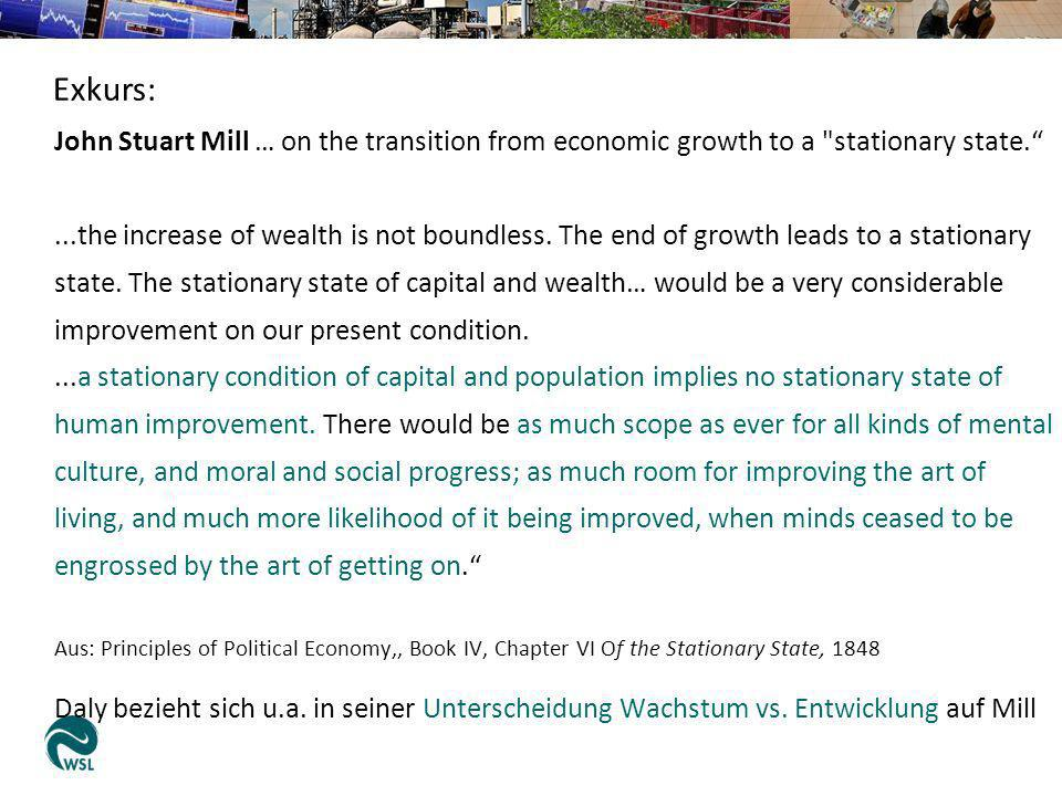 John Stuart Mill … on the transition from economic growth to a