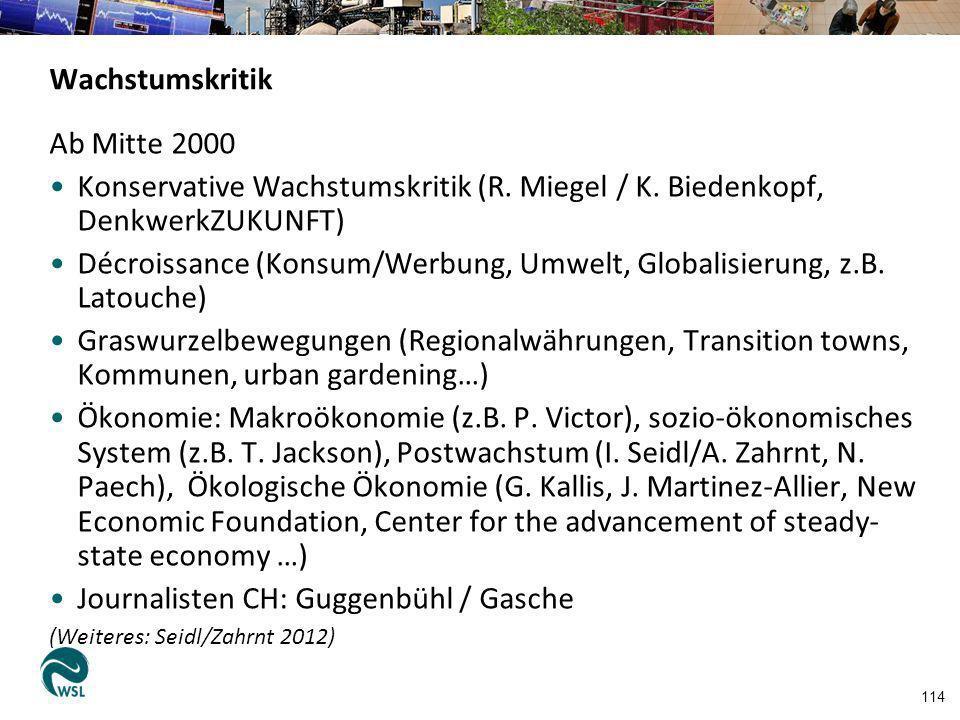114 Wachstumskritik Ab Mitte 2000 Konservative Wachstumskritik (R. Miegel / K. Biedenkopf, DenkwerkZUKUNFT) Décroissance (Konsum/Werbung, Umwelt, Glob