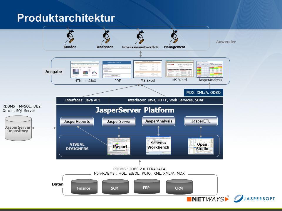 Produktarchitektur 15 JasperServer Platform Daten ERP SCMFinance CRM RDBMS : JDBC 2.0 TERADATA Non-RDBMS : HQL, EJBQL, POJO, XML, XML/A, MDX Ausgabe P