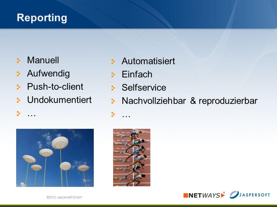 Reporting Manuell Aufwendig Push-to-client Undokumentiert … ©2010 Jaspersoft GmbH Automatisiert Einfach Selfservice Nachvollziehbar & reproduzierbar …