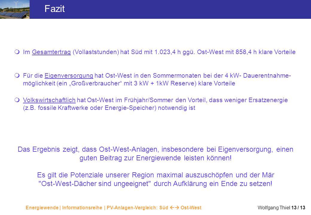 Energiewende | Informationsreihe | PV-Anlagen-Vergleich: Süd Ost-West Wolfgang Thiel 13 / 13 Fazit Im Gesamtertrag (Vollaststunden) hat Süd mit 1.023,