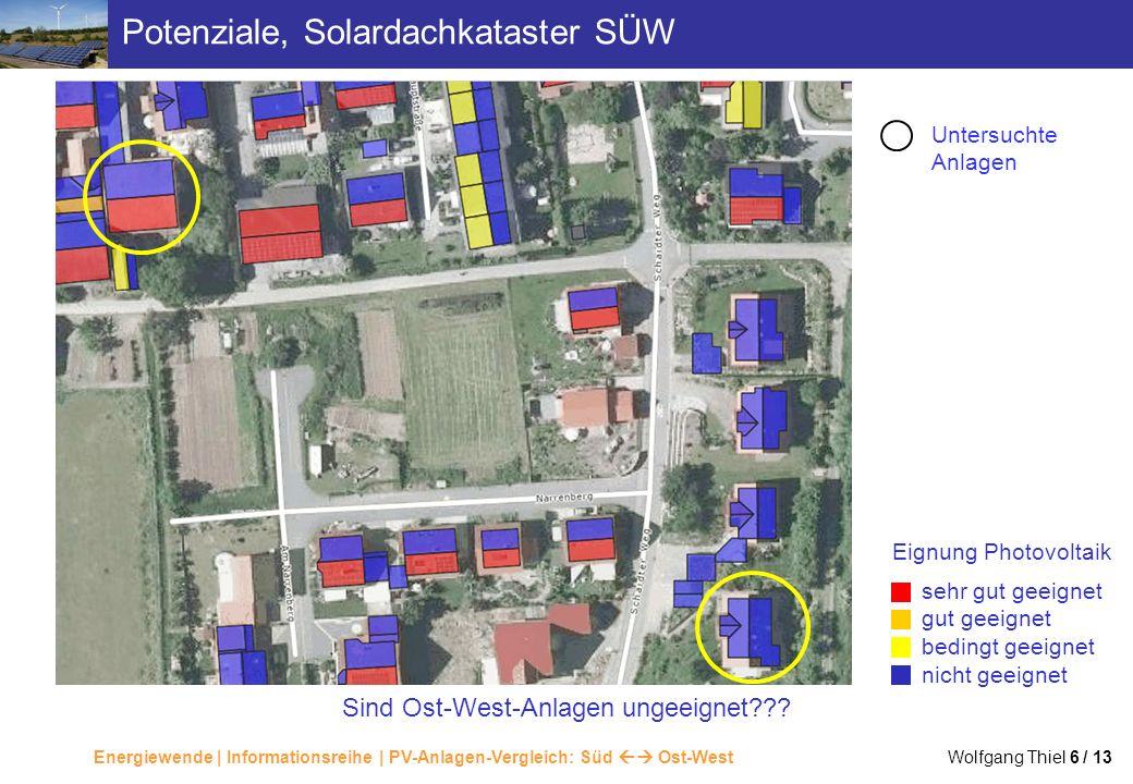 Energiewende | Informationsreihe | PV-Anlagen-Vergleich: Süd Ost-West Wolfgang Thiel 6 / 13 Potenziale, Solardachkataster SÜW sehr gut geeignet gut ge