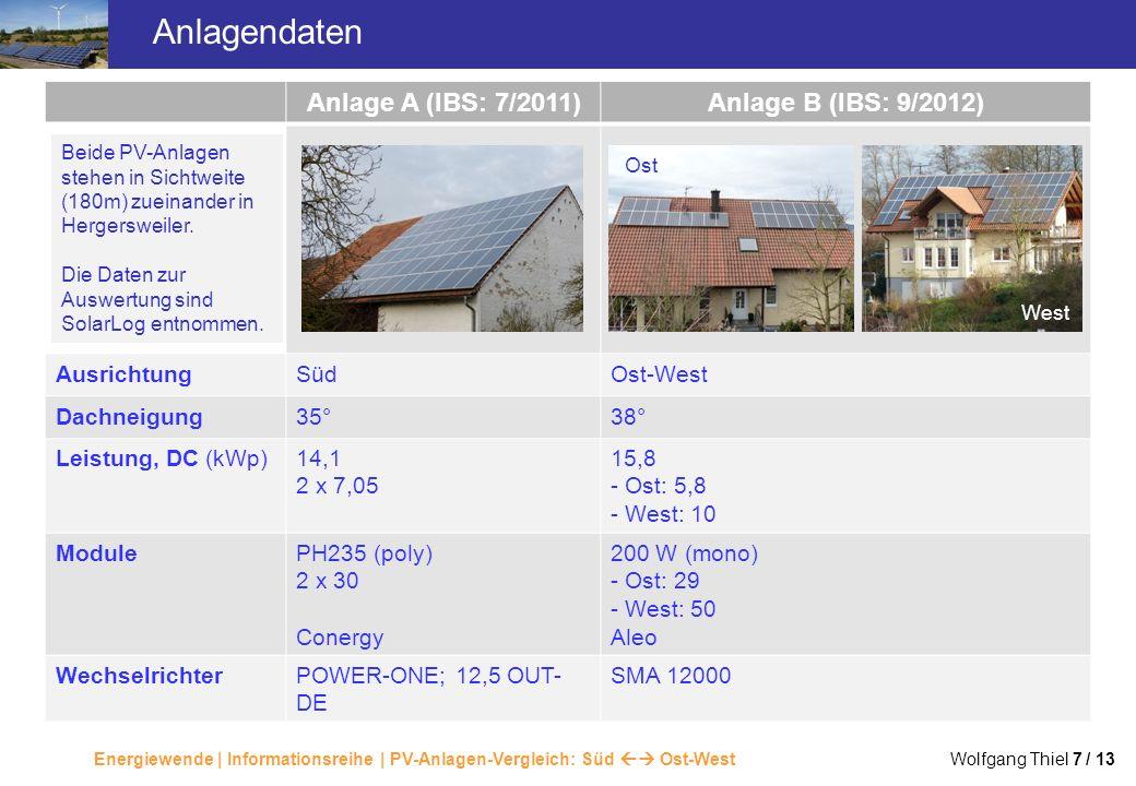 Energiewende | Informationsreihe | PV-Anlagen-Vergleich: Süd Ost-West Wolfgang Thiel 7 / 13 Anlagendaten Anlage A (IBS: 7/2011)Anlage B (IBS: 9/2012)