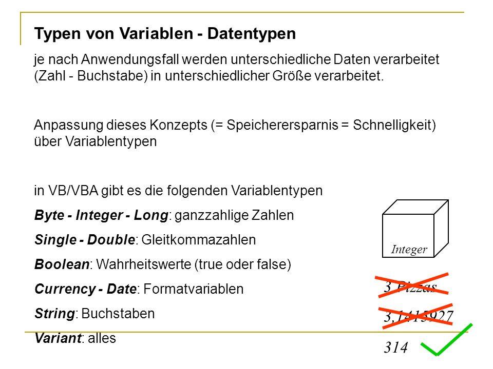 Deklaration von Variablen Implizite Deklaration: In VBA müssen Variablen nicht explizit eingerichtet werden, sie werden bei der ersten Erwähnung automatisch erzeugt.