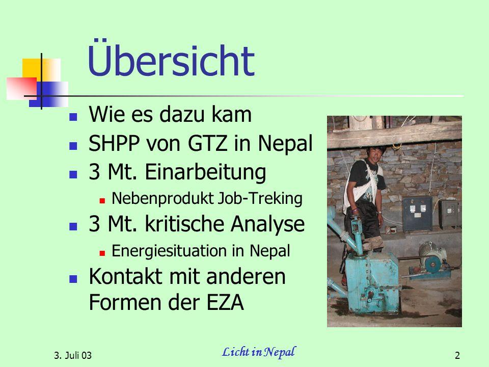 3. Juli 03 Licht in Nepal 2 Übersicht Wie es dazu kam SHPP von GTZ in Nepal 3 Mt.