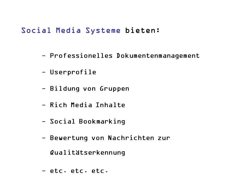 Social Media Systeme bieten: - Professionelles Dokumentenmanagement - Userprofile - Bildung von Gruppen - Rich Media Inhalte - Social Bookmarking - Be