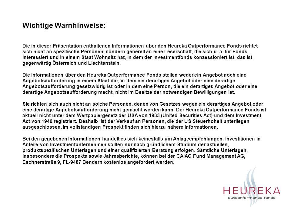Die in dieser Präsentation enthaltenen Informationen über den Heureka Outperformance Fonds richtet sich nicht an spezifische Personen, sondern generel