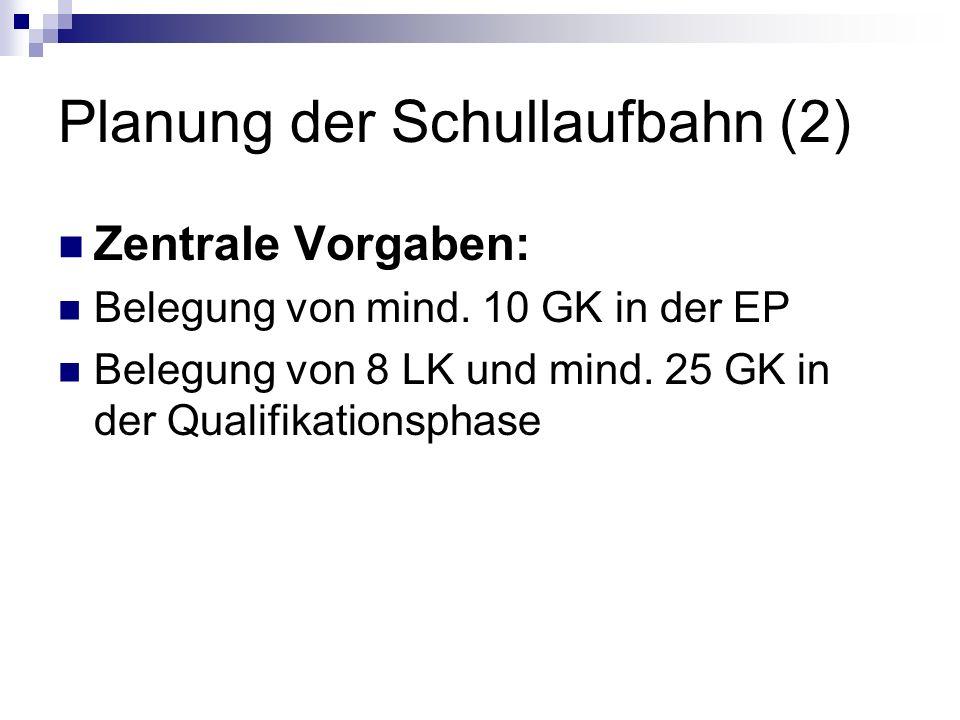 Planung der Schullaufbahn (2) Zentrale Vorgaben: Belegung von mind. 10 GK in der EP Belegung von 8 LK und mind. 25 GK in der Qualifikationsphase