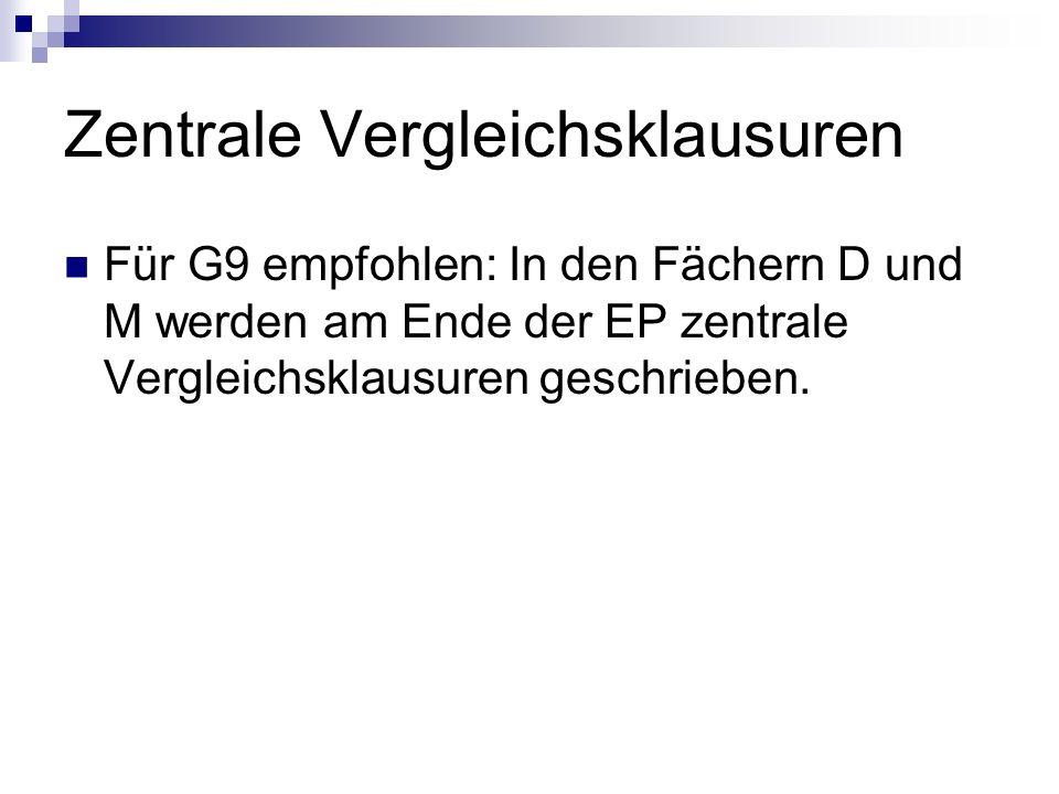 Zentrale Vergleichsklausuren Für G9 empfohlen: In den Fächern D und M werden am Ende der EP zentrale Vergleichsklausuren geschrieben.