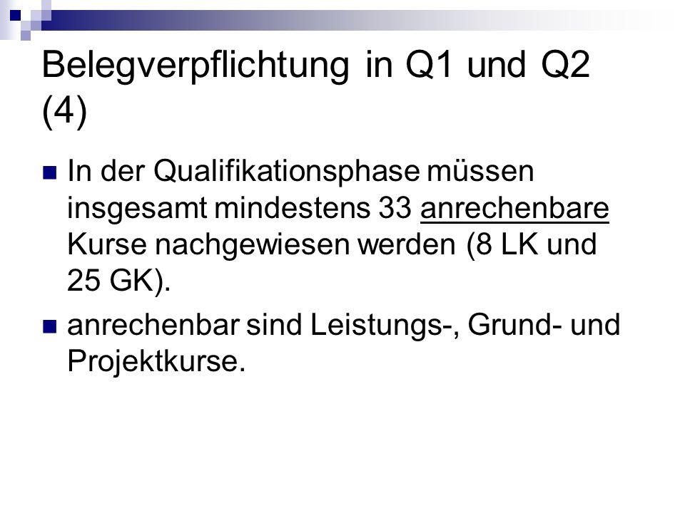 Belegverpflichtung in Q1 und Q2 (4) In der Qualifikationsphase müssen insgesamt mindestens 33 anrechenbare Kurse nachgewiesen werden (8 LK und 25 GK).