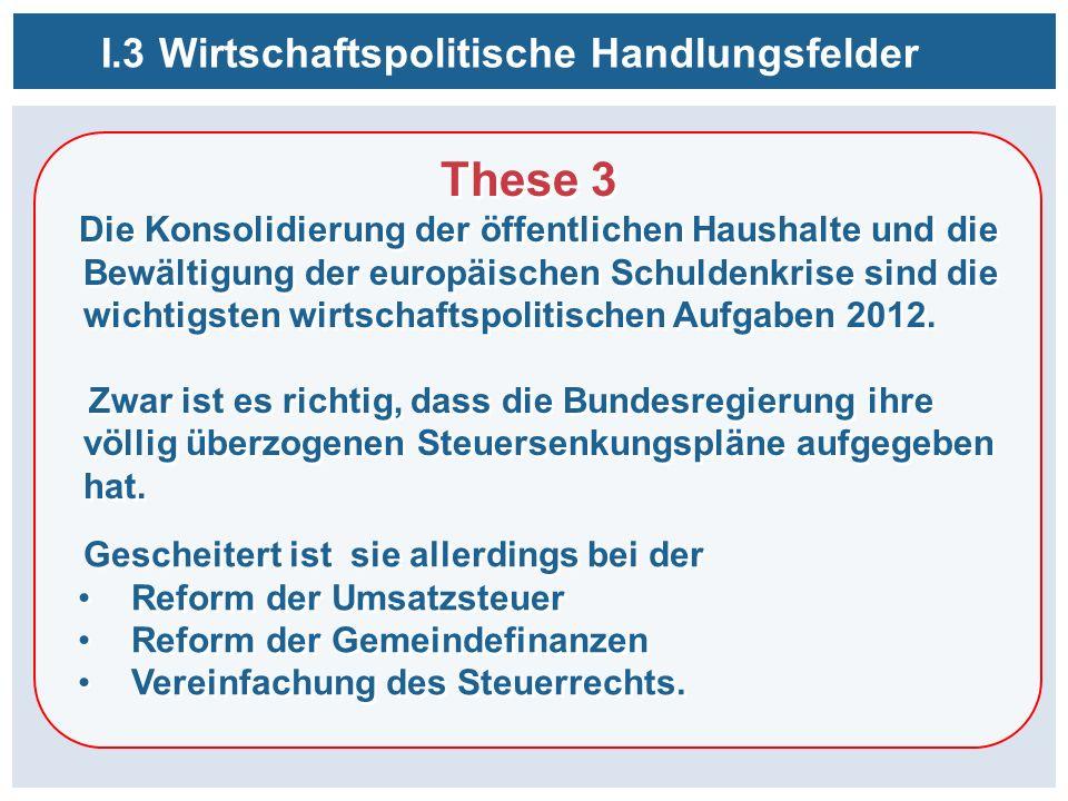 These 3 Die Konsolidierung der öffentlichen Haushalte und die Bewältigung der europäischen Schuldenkrise sind die wichtigsten wirtschaftspolitischen Aufgaben 2012.
