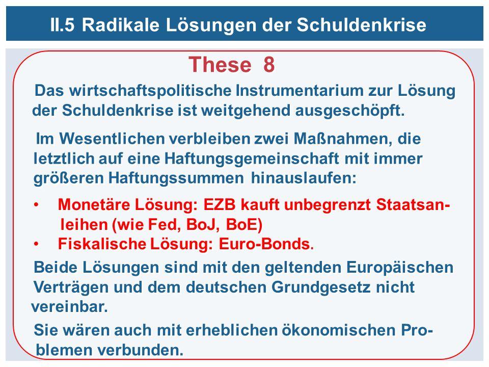 These 8 II.5 Radikale Lösungen der Schuldenkrise Das wirtschaftspolitische Instrumentarium zur Lösung der Schuldenkrise ist weitgehend ausgeschöpft.